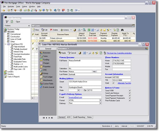 The Mortgage Office Software - Borrower screens