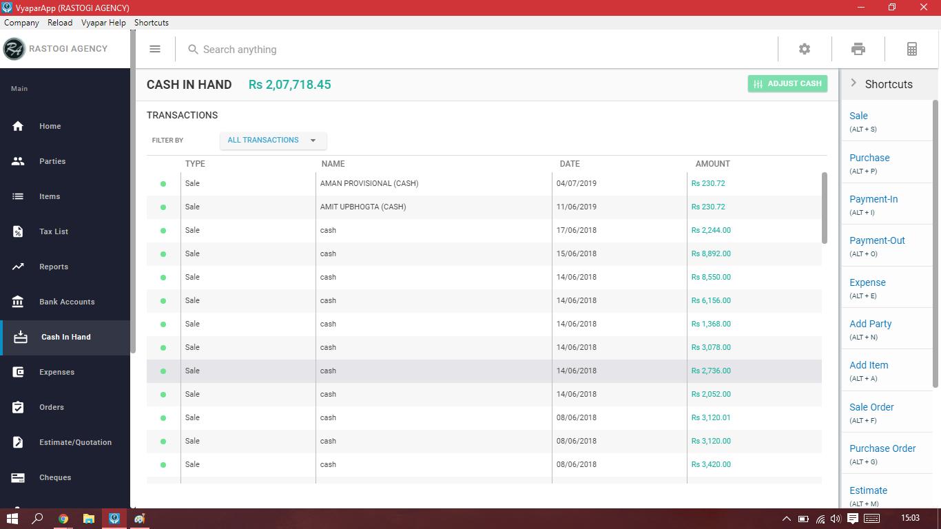 Vyapar Software - Vyapar cash-in-hand screenshot