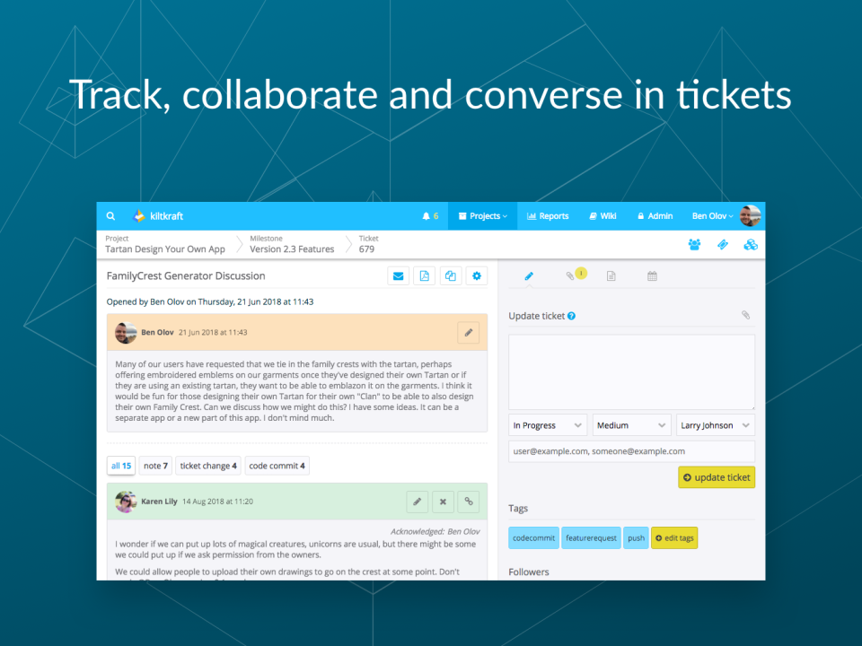Begin discussions to comment on tickets and collaborate with colleagues