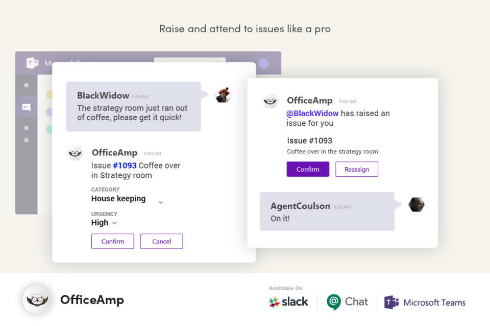 OfficeAmp screenshot: Employees can type a free form simple sentence to create an issue