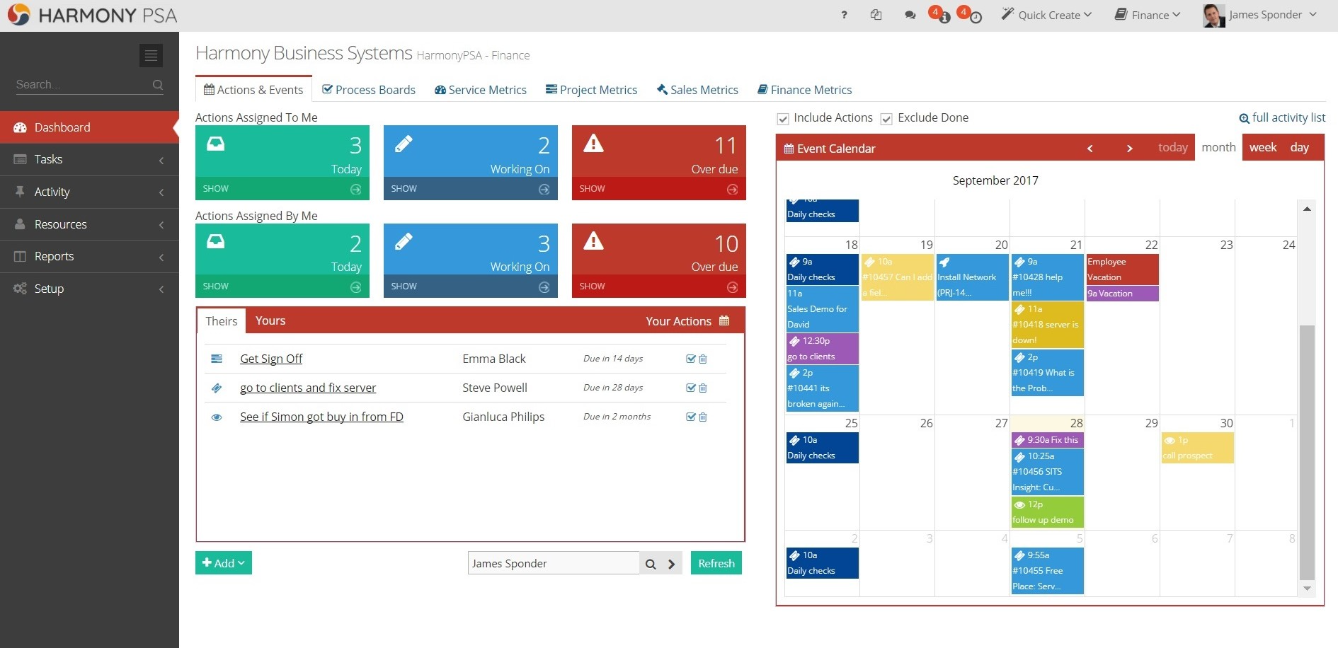 The Harmony dashboard is designed to organise your, and your team's, day to day workload. Integrates with all popular calendar apps.