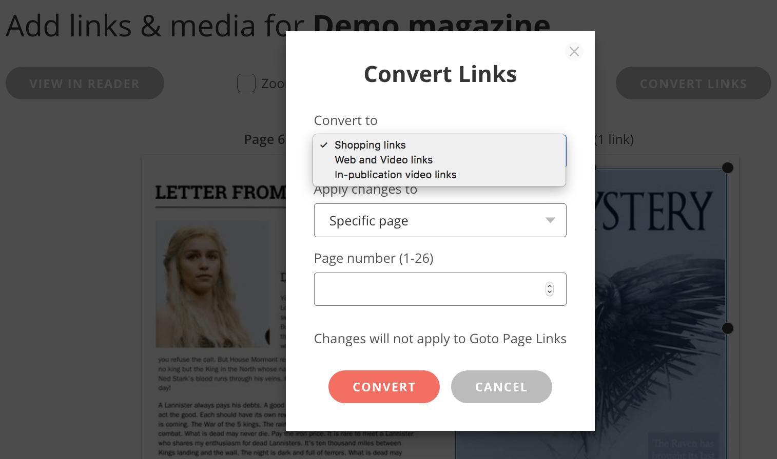 Issuu convert links