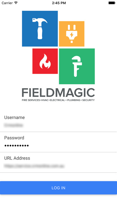 Log in securely to the Fieldmagic mobile app for iOS