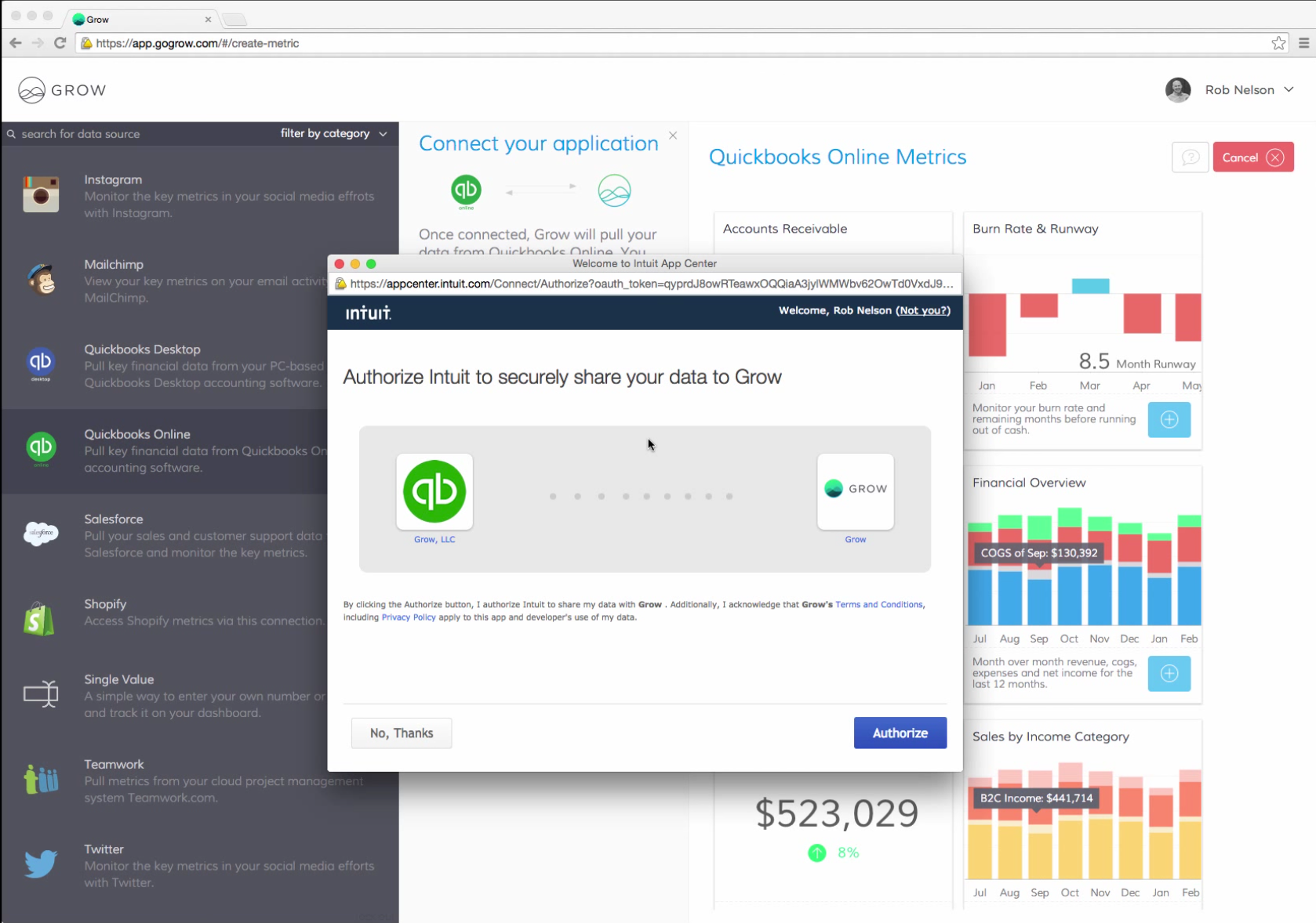 Grow Software - A collection of pre-loaded data source integrations allow for authorization and connection with apps such as QuickBooks