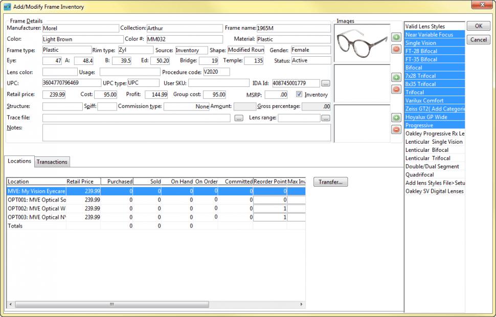 Modify inventory