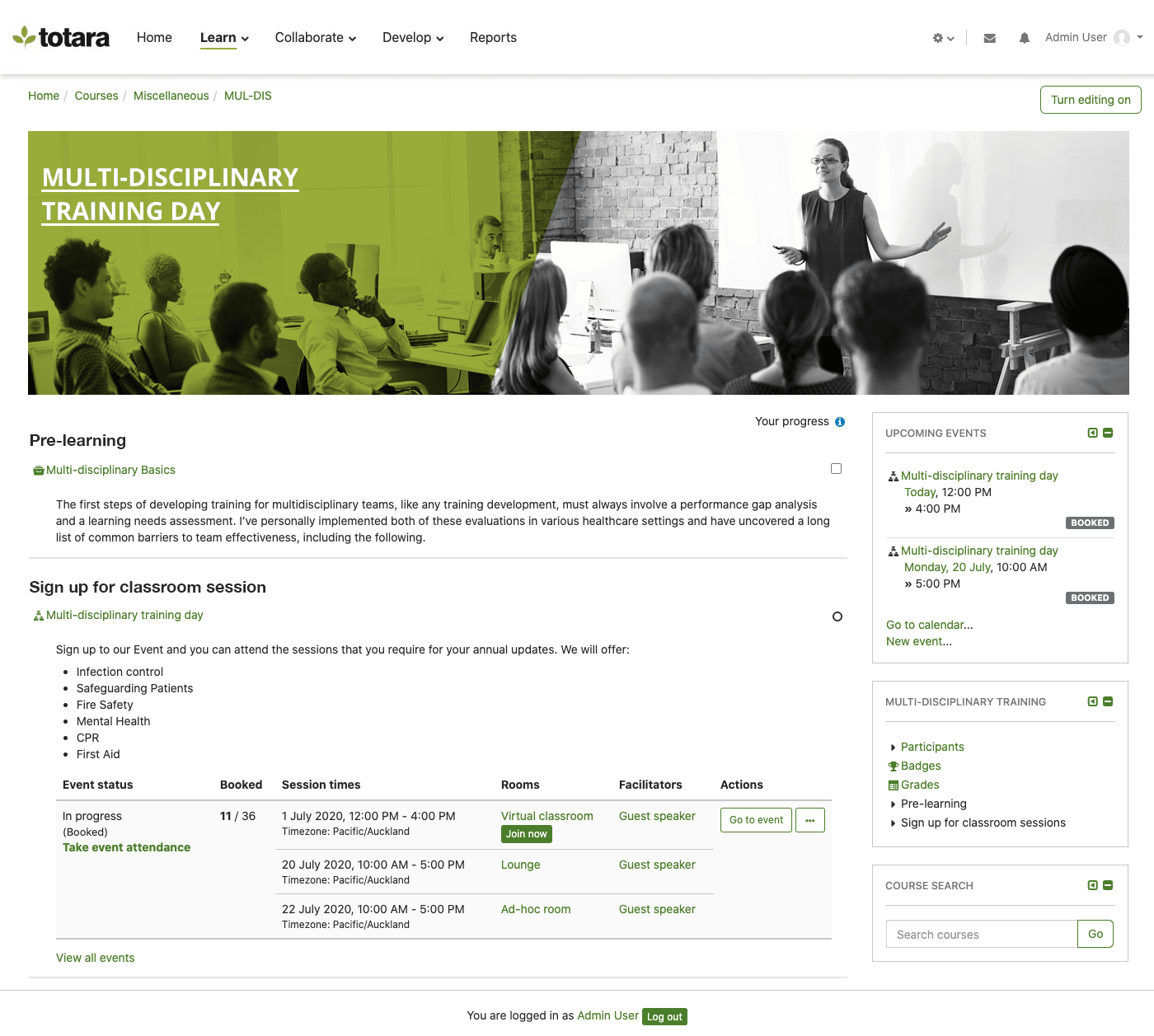 Course page in Totara Learn