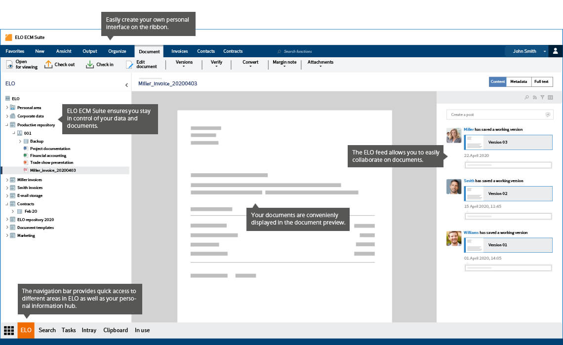 ELO ECM Suite User Interface