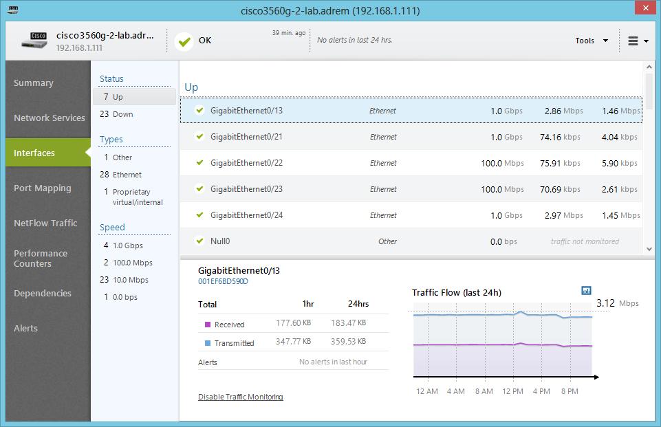 NetCrunch Software - Node interfaces
