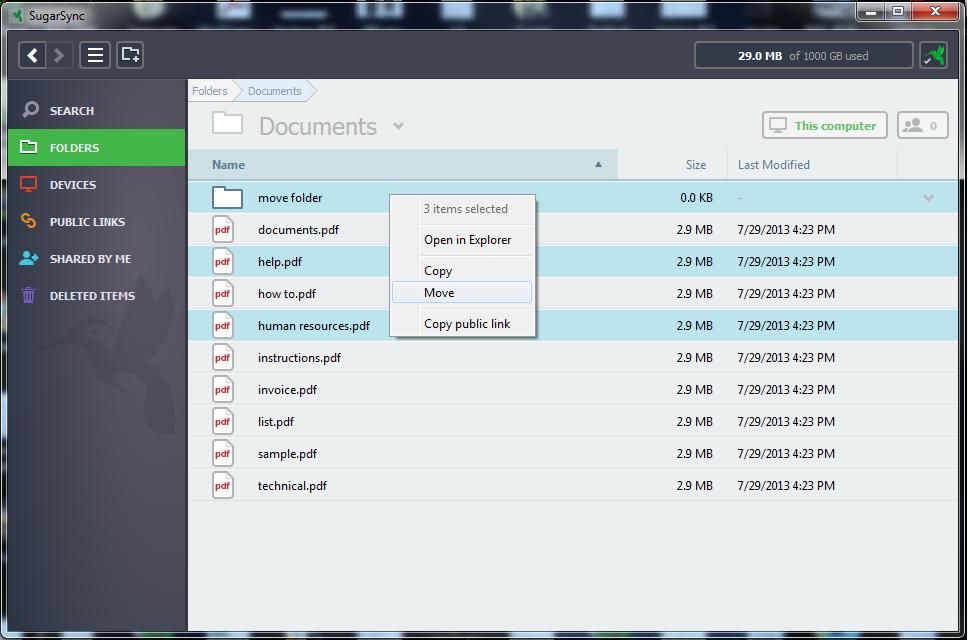 SugarSync Software - SugarSync moving folders