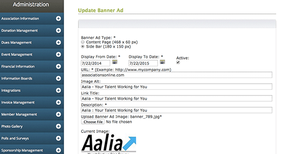 Sell website banner ads and track activity