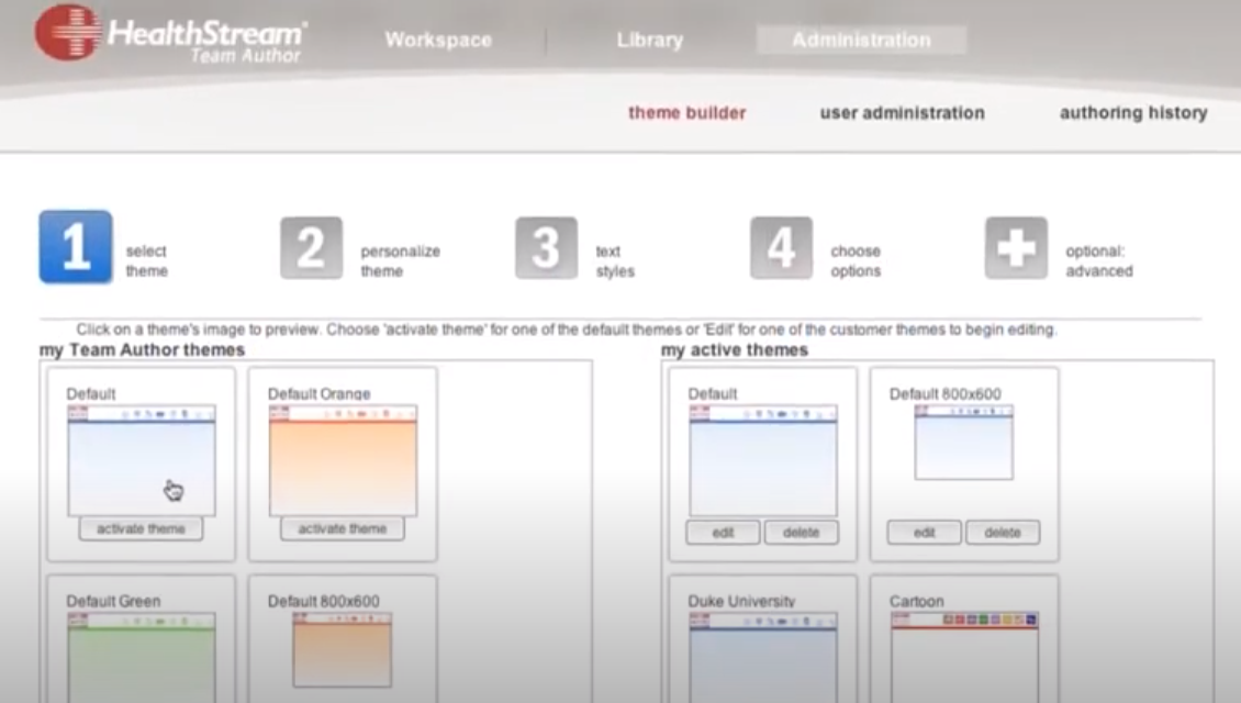 HealthStream Learning Center Software - HealthStream Learning Center theme builder