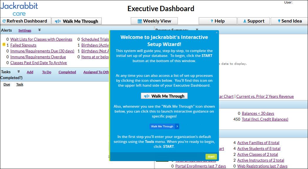 Jackrabbit Care - Dashboard