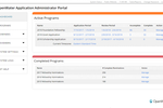 OpenWater screenshot: The OpenWater admin panel presents a comprehensive overview of the entire grant application, review, and selection process