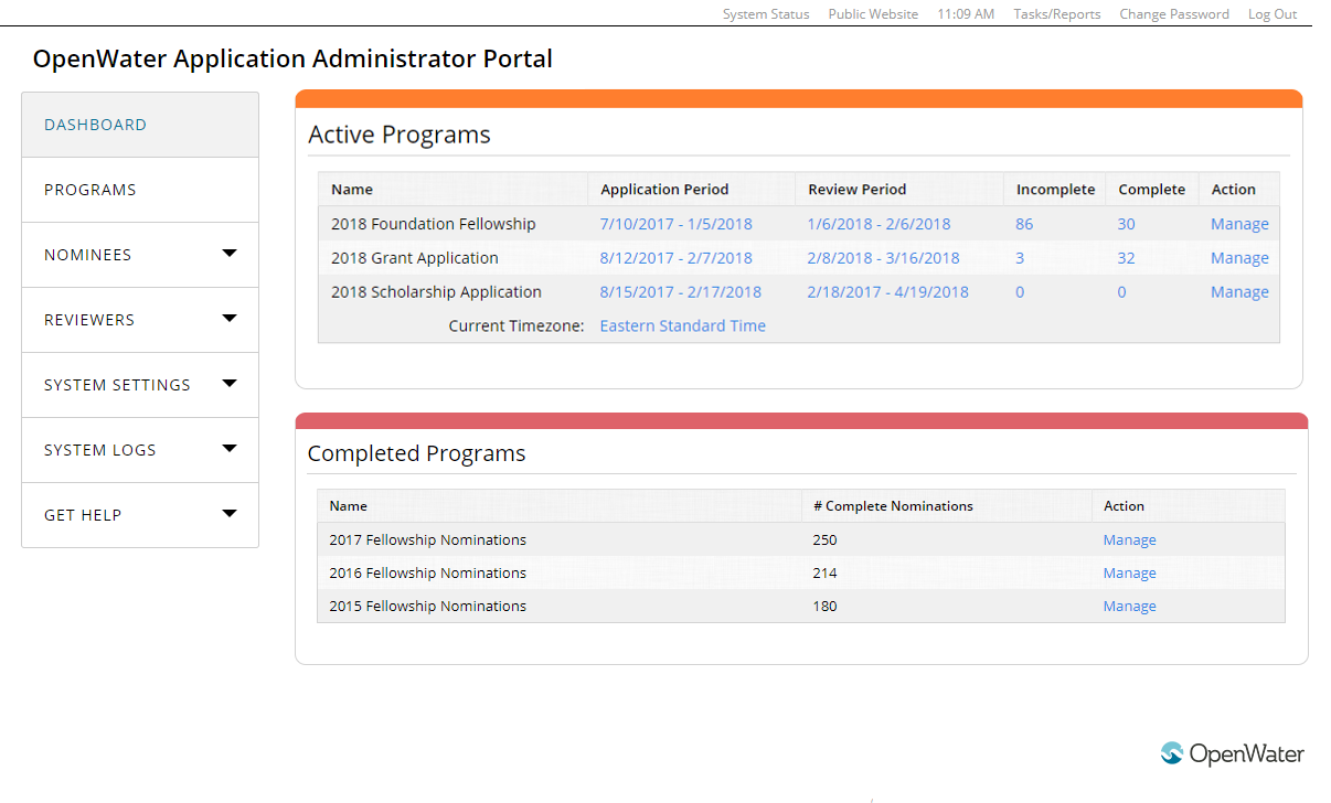 The OpenWater admin panel presents a comprehensive overview of the entire grant application, review, and selection process