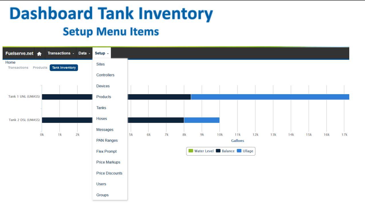 Dashboard tank inventory