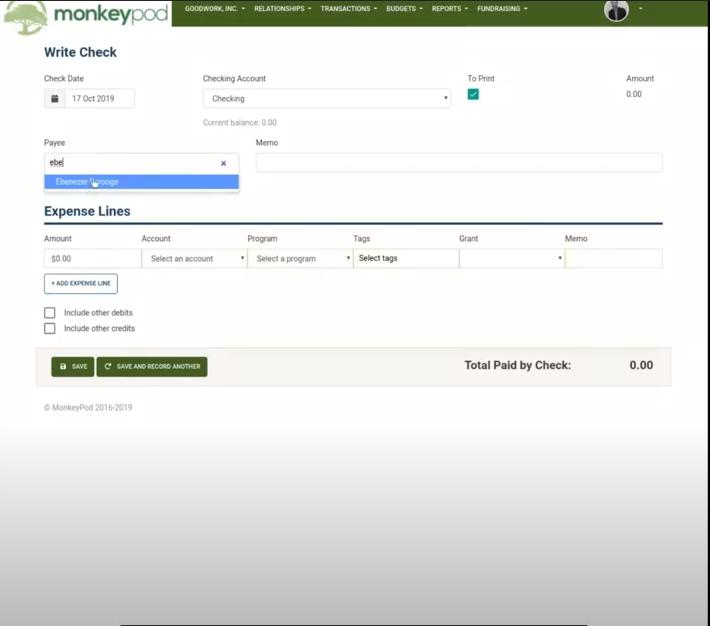 MonkeyPod write a grant check