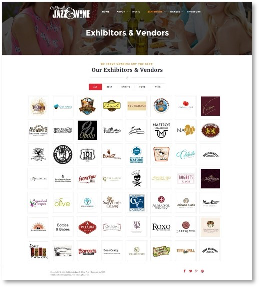 Vendor, Exhibitor and Sponsor logo page auto  generated by the system, no need to create and populate your vendor page.