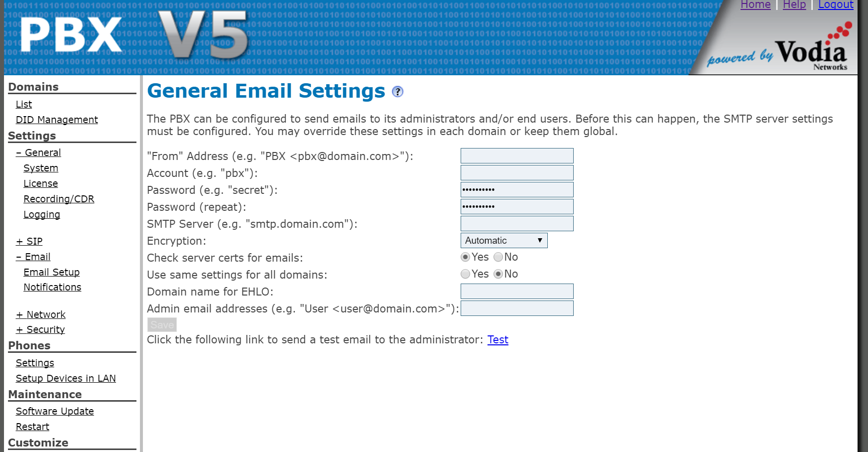 Vodia PBX Software - Email settings