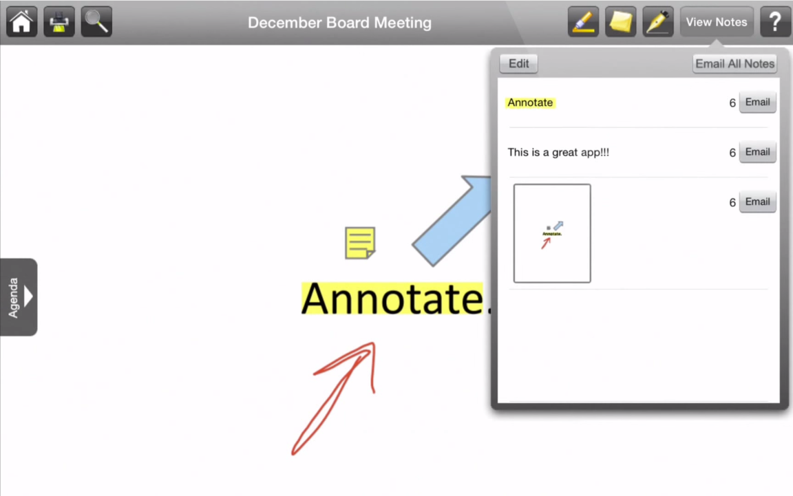 View various types of document notes at a glance