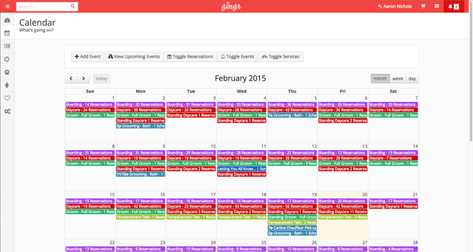 Manage appointments from the built in calendar with color coding for ease of understanding