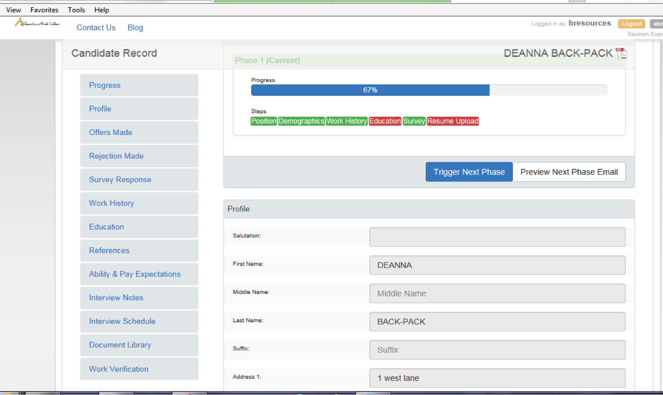 Toast Payroll & Team Management Software - Candidate record