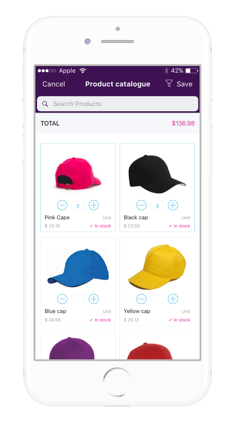 Skynamo's order capturing system includes an eye-catching product catalog, so sales reps no longer have to carry catalogue files with them to customer visits
