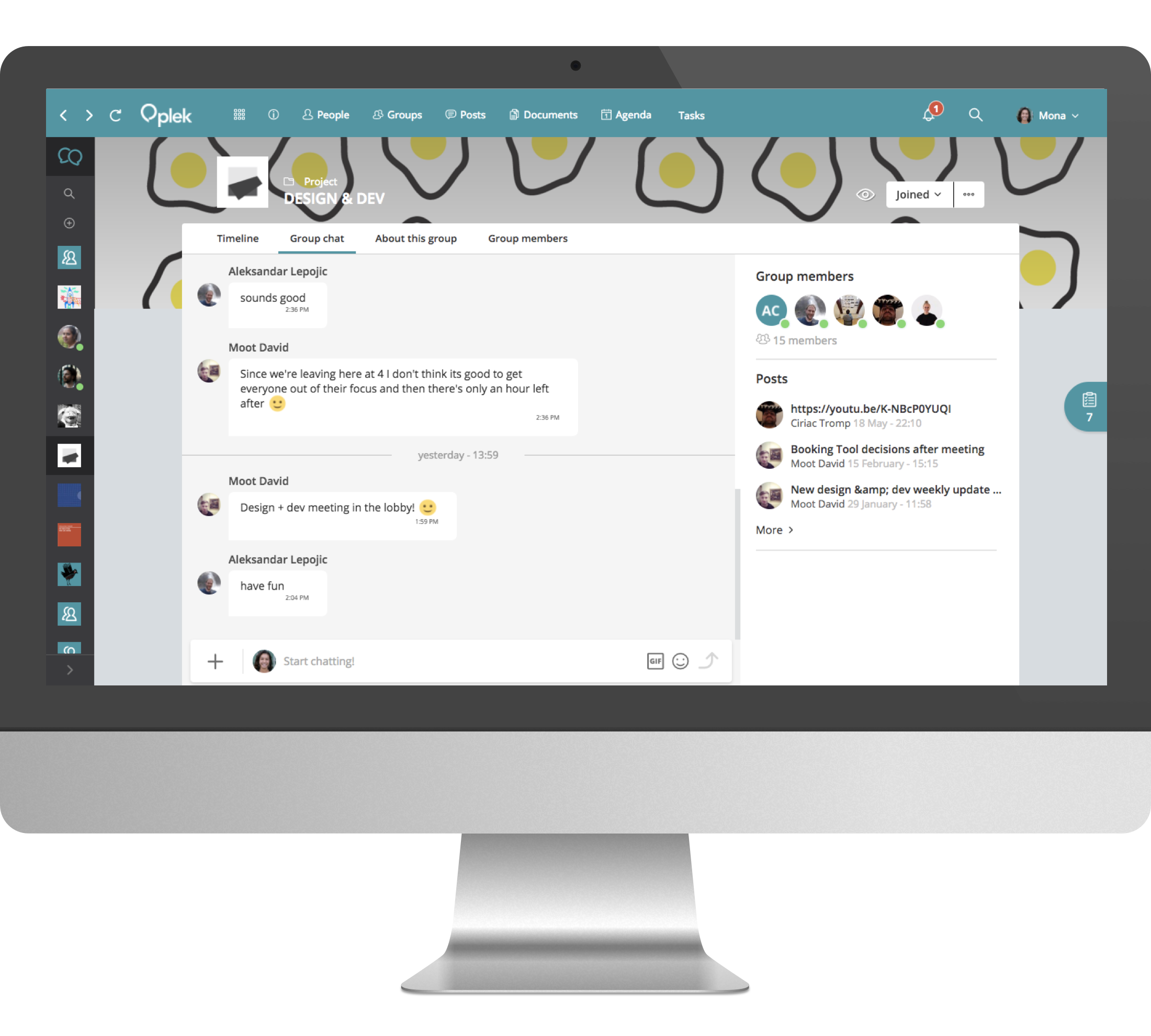 Groups can be open, private or secret. They can include a timeline, calendar, chat, documents, applications, etc.