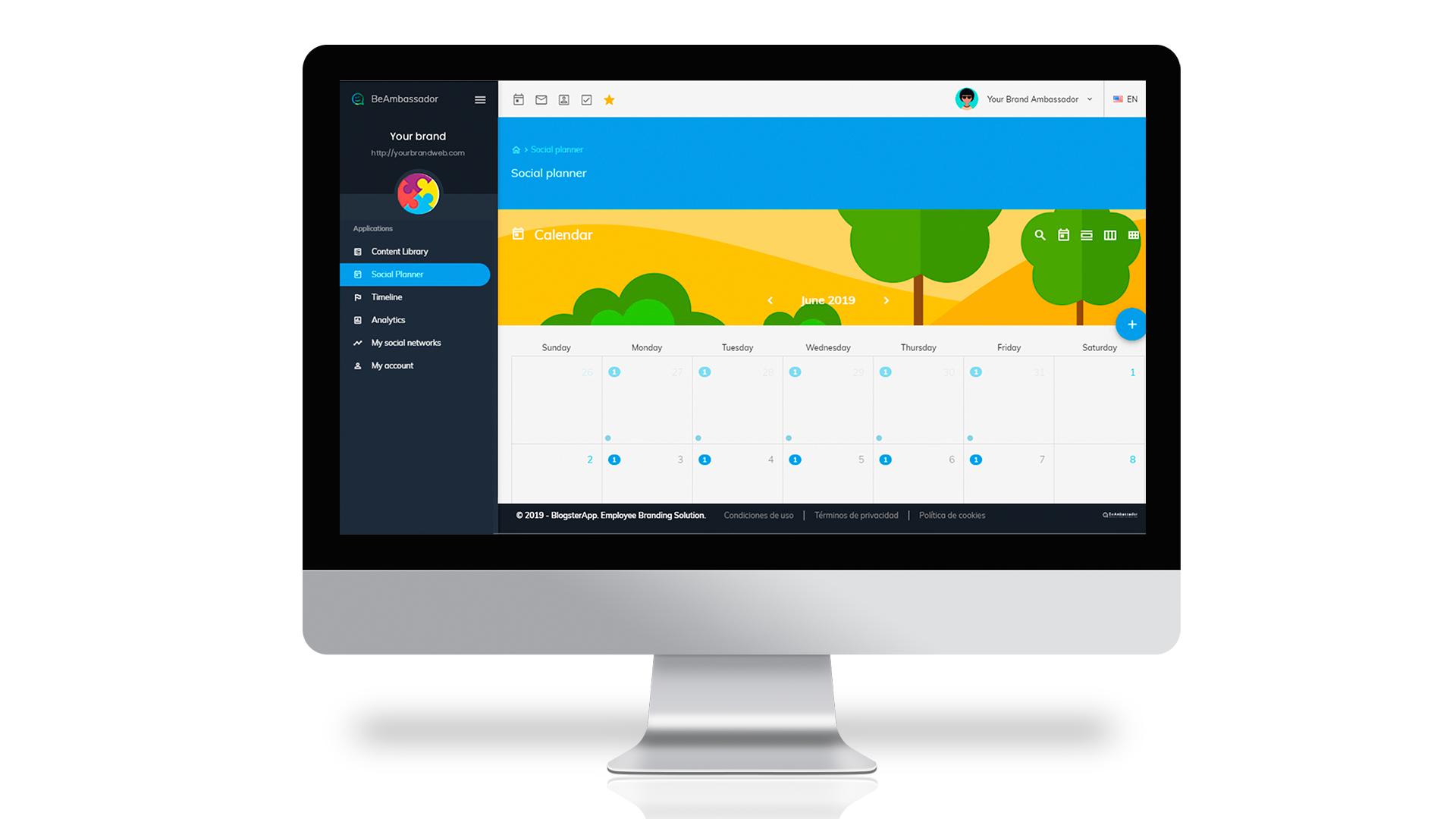 BeAmbassador social planner screenshot