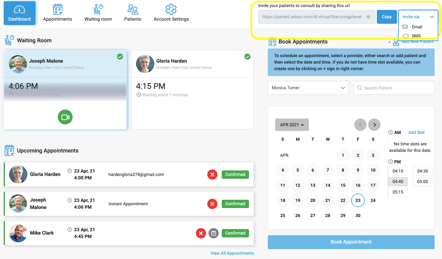 Book instant appointments by sharing your Unique Practice URL via email or SMS. You can even copy the URL and send it across via your favorite the messaging app.