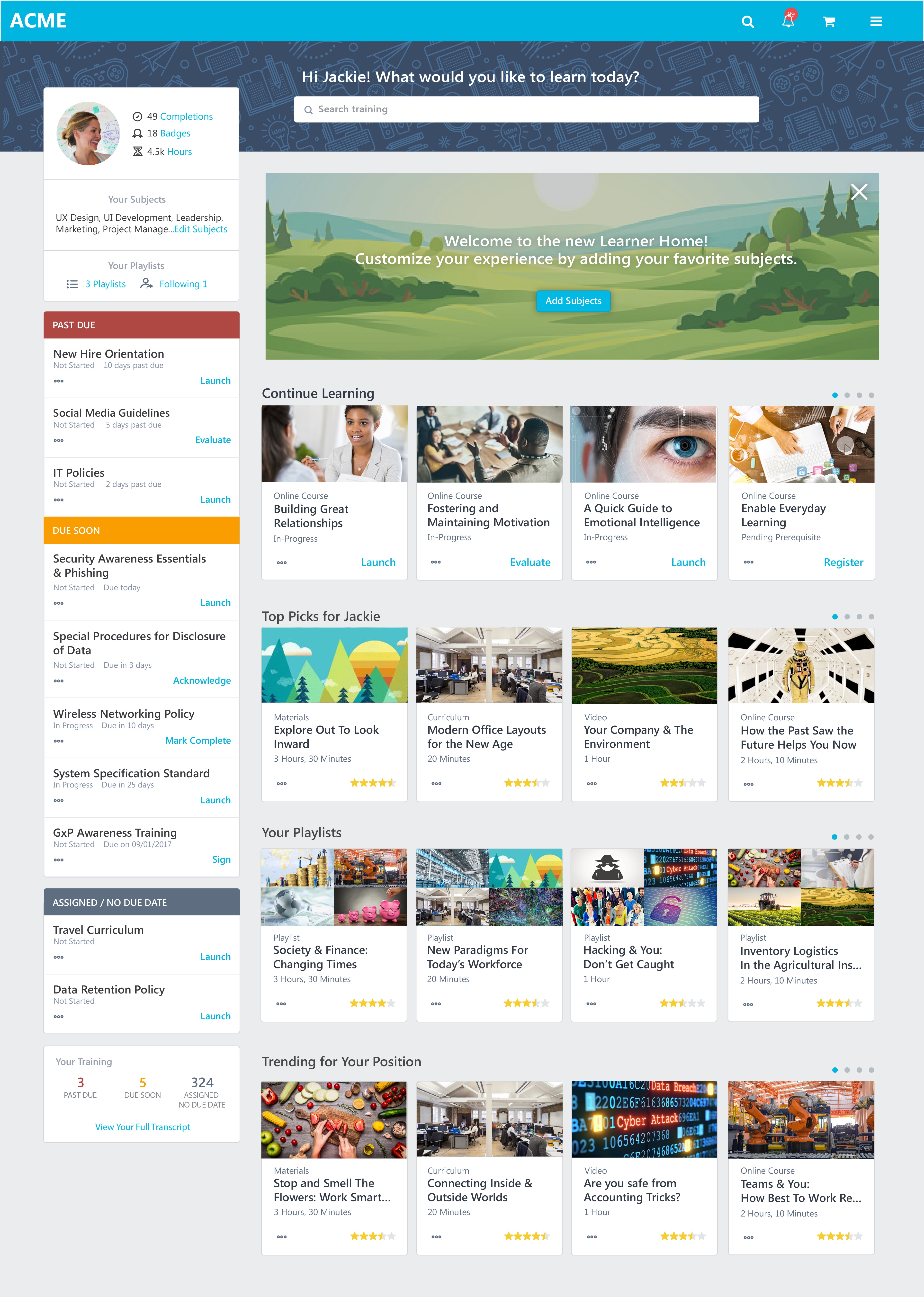 Cornerstone LMS screenshot: Fuel the entire employee lifecycle from day one with targeted and personalized content subscriptions from a personalized learning platform.