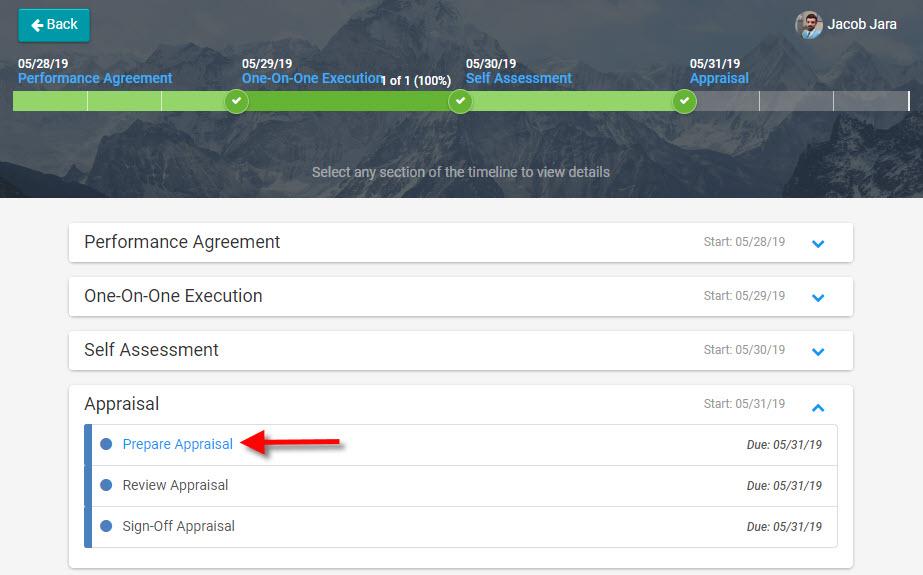 Inspire preparing a performance appraisal screenshot