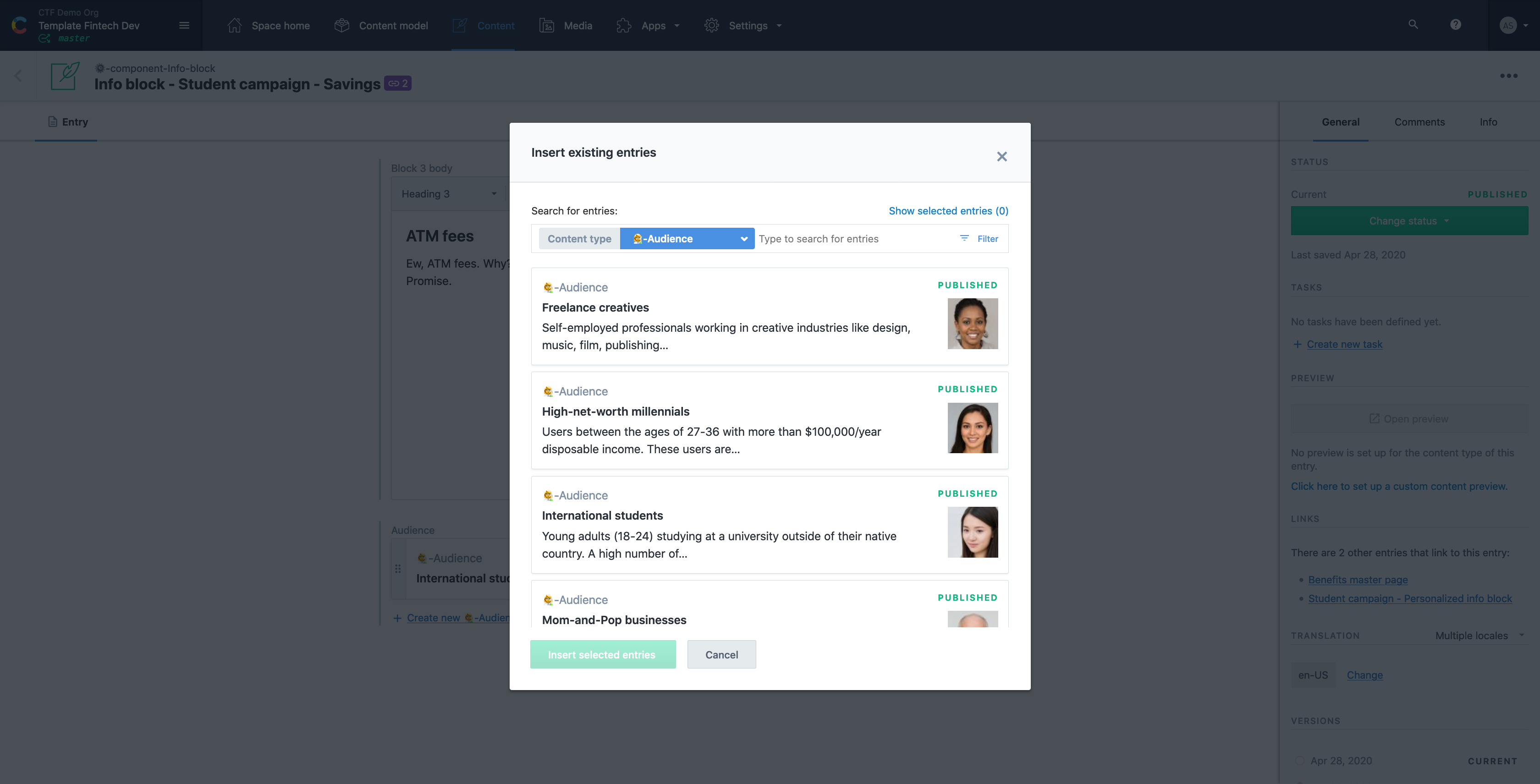 Contentful - personalization by audience, content type