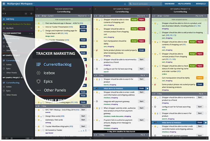 Pivotal Tracker's multi-project view