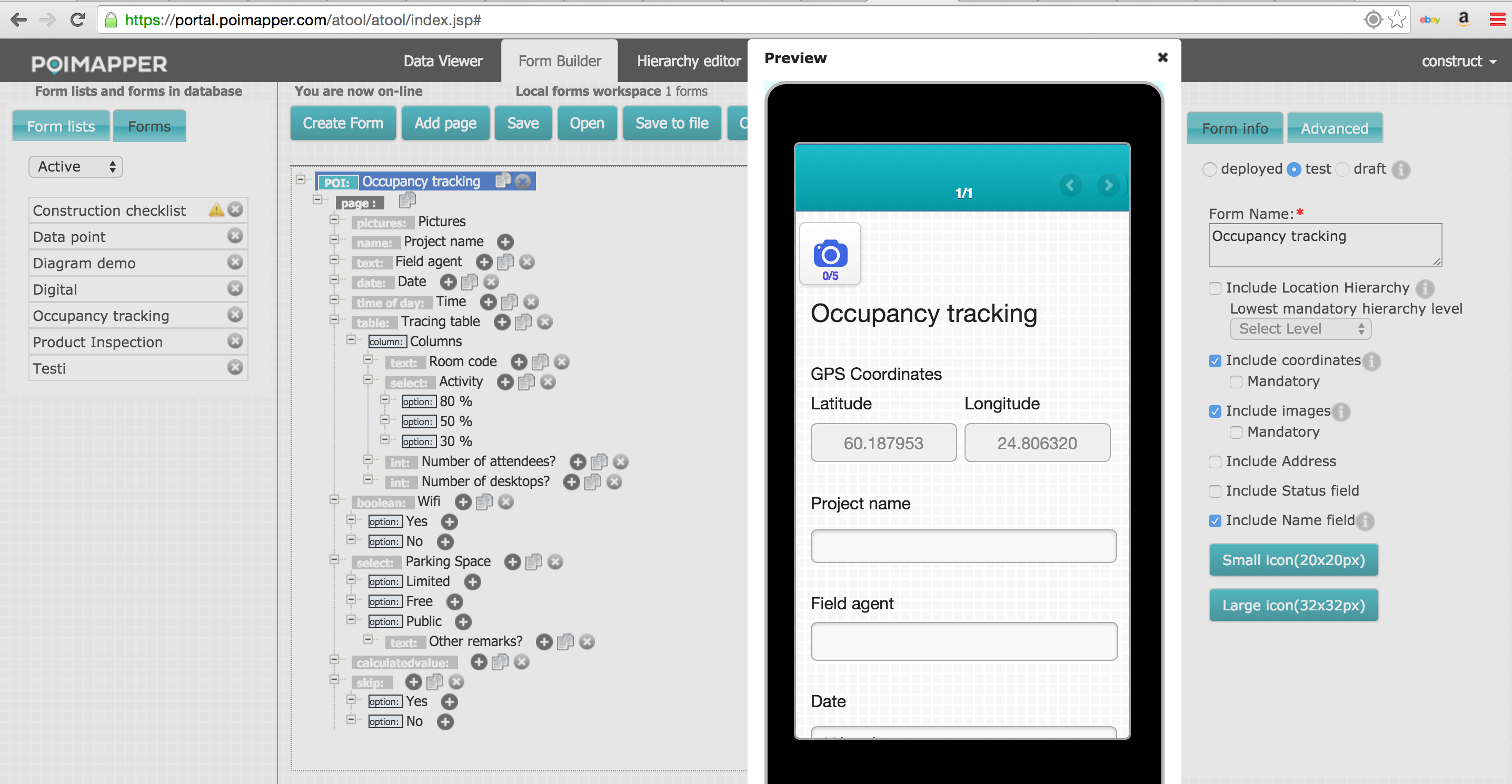 Easy to use mobile form builder with a preview feature