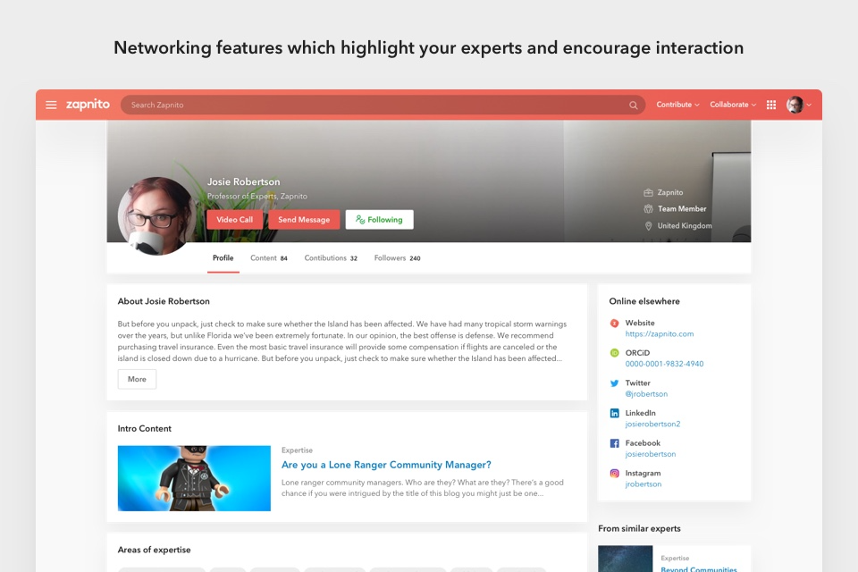 Expert profiles to showcase the most relevant user content and insights