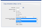 ScheduleAnywhere screenshot: Schedules and rotations can be copied, removing the need for users to manually enter repeating schedules