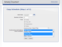 ScheduleAnywhere Software - Schedules and rotations can be copied, removing the need for users to manually enter repeating schedules