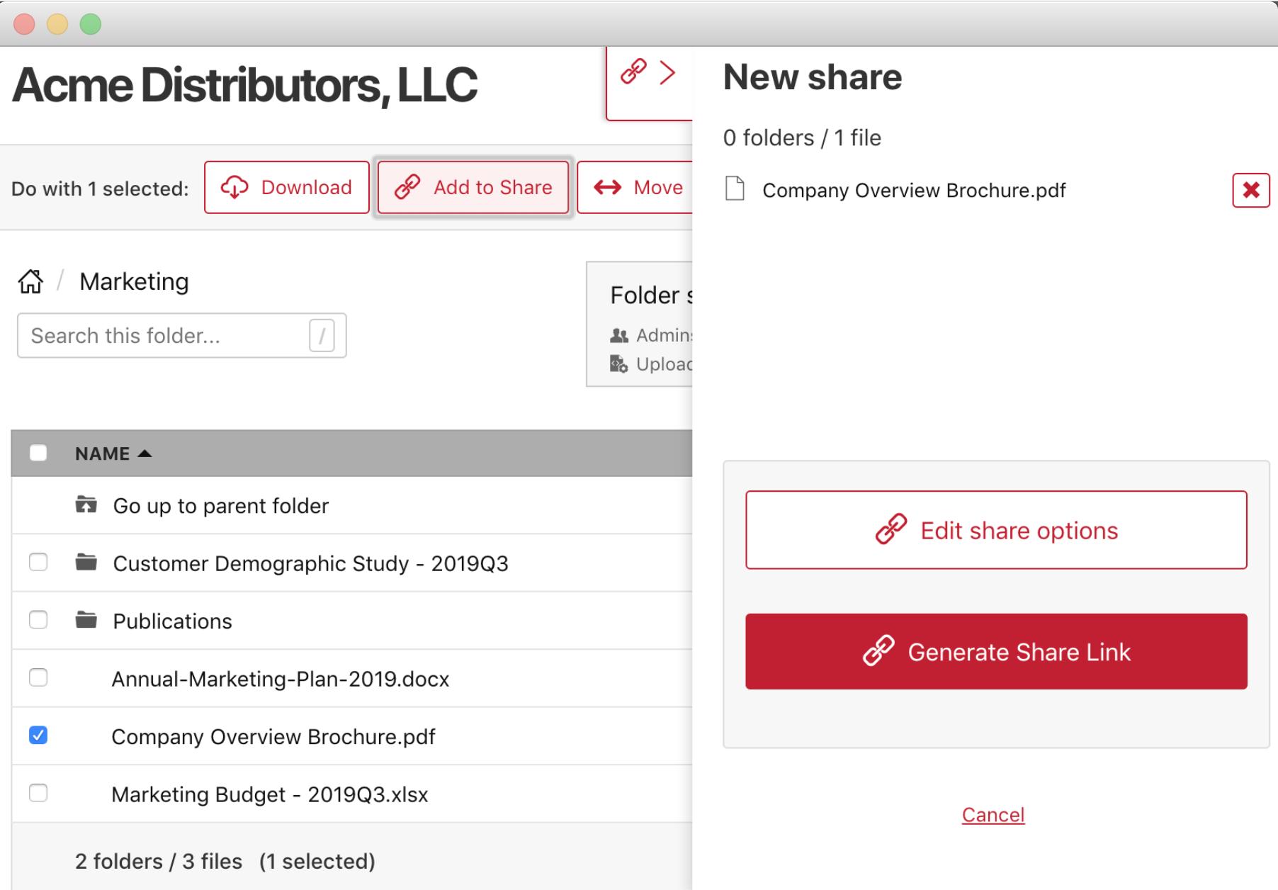 Share Link creation process