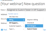 FuseDesk screenshot: Easily transfer or escalate support cases between team members right in FuseDesk so the right team members get the right cases.