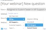 Captura de pantalla de FuseDesk: Easily transfer or escalate support cases between team members right in FuseDesk so the right team members get the right cases.