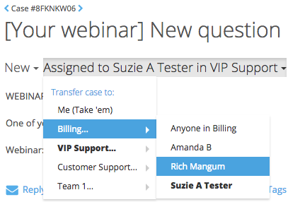 Easily transfer or escalate support cases between team members right in FuseDesk so the right team members get the right cases.