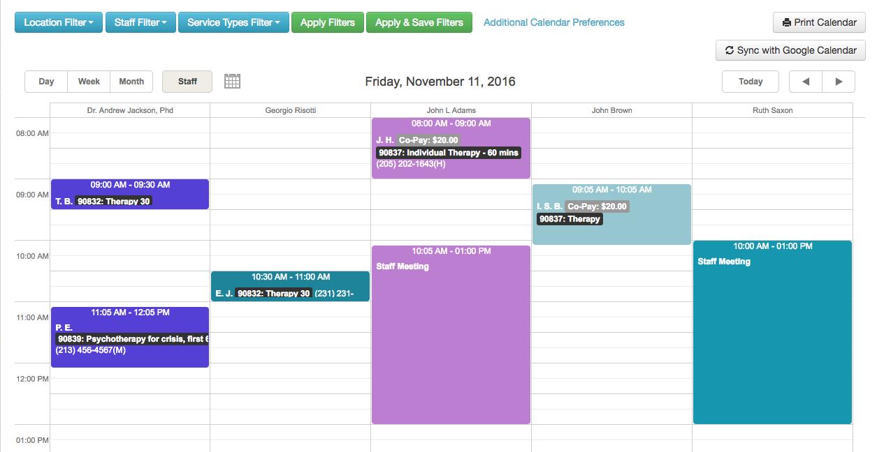 TheraNest Software - Calendar
