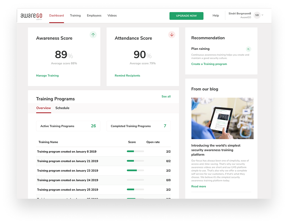 AwareGO employer dashboard