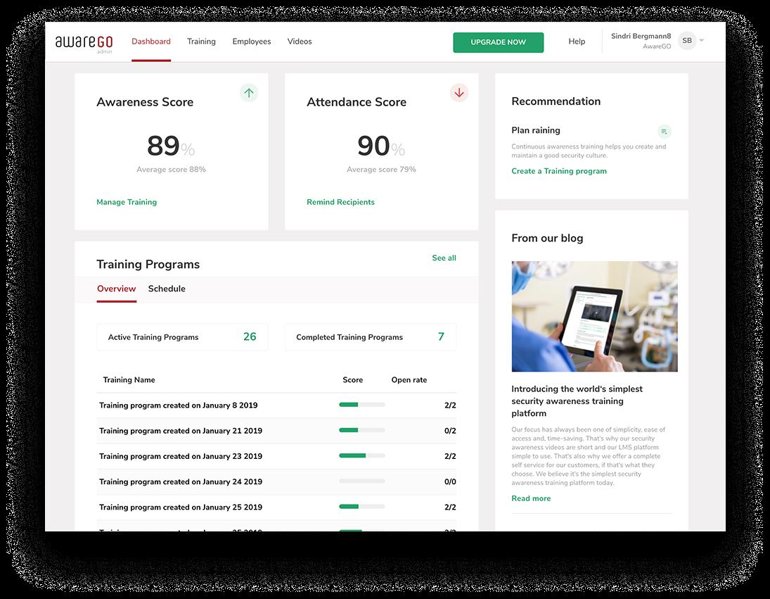 AwareGO Software - AwareGO employer dashboard