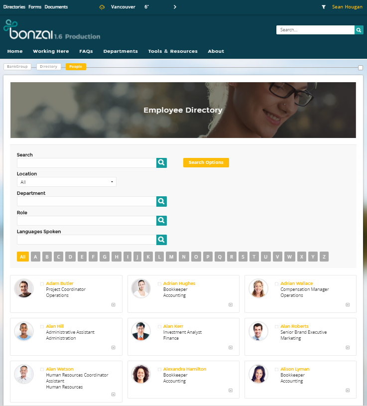 Bonzai Intranet - Member search