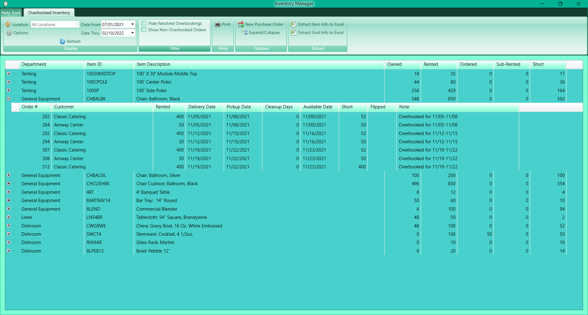 Easily locate all overbooked items and orders and resolve them from your inventory manager.