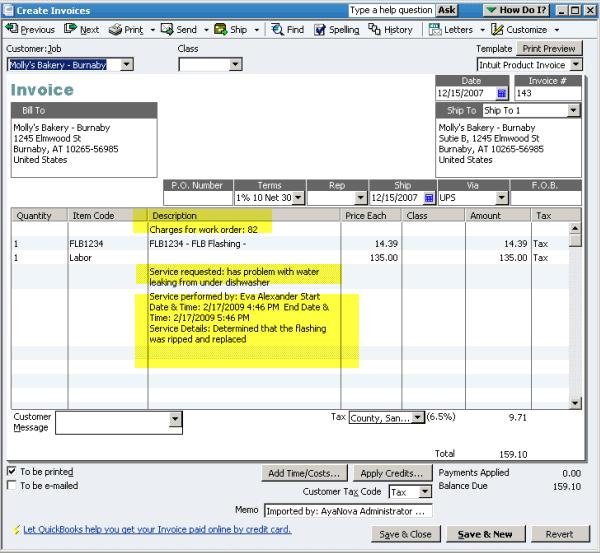 AyaNova Software - Billing and invoicing %>