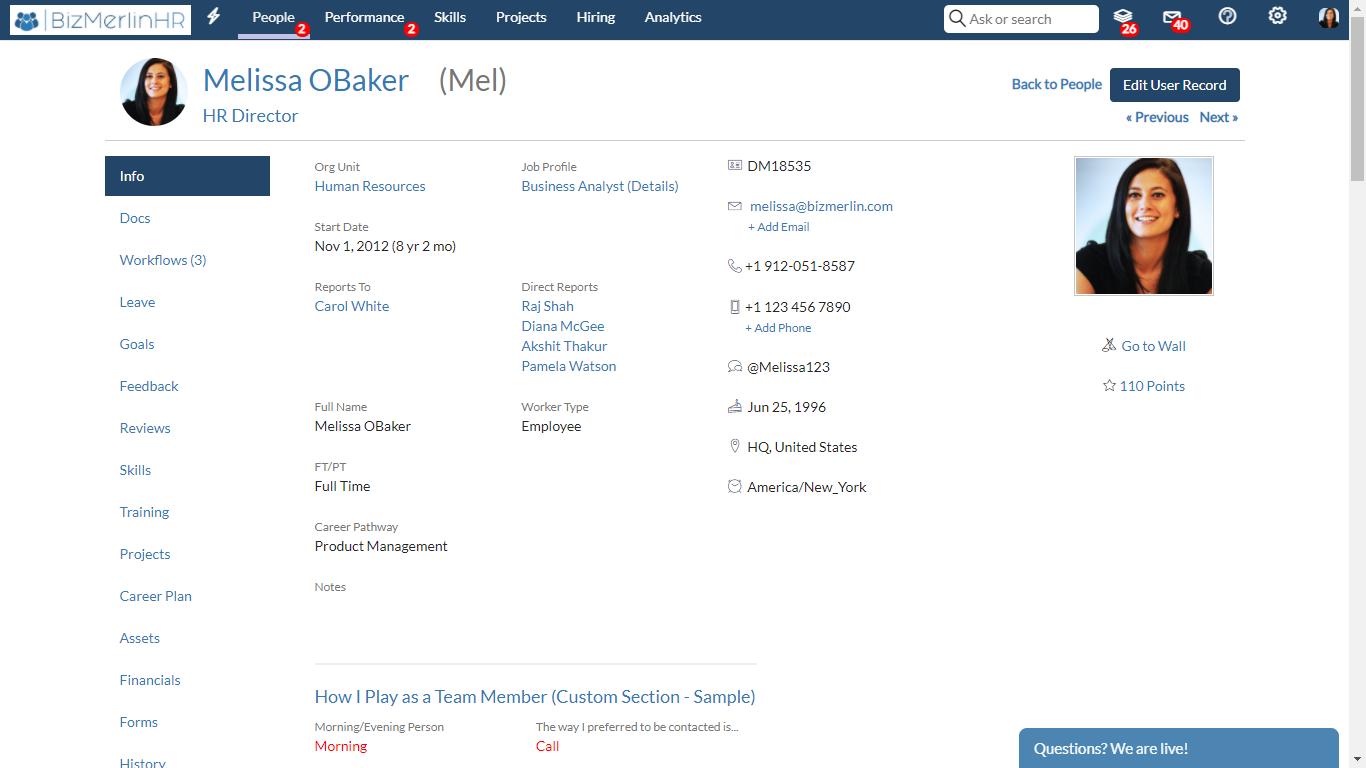 BizMerlinHR Software - Employee Record Details