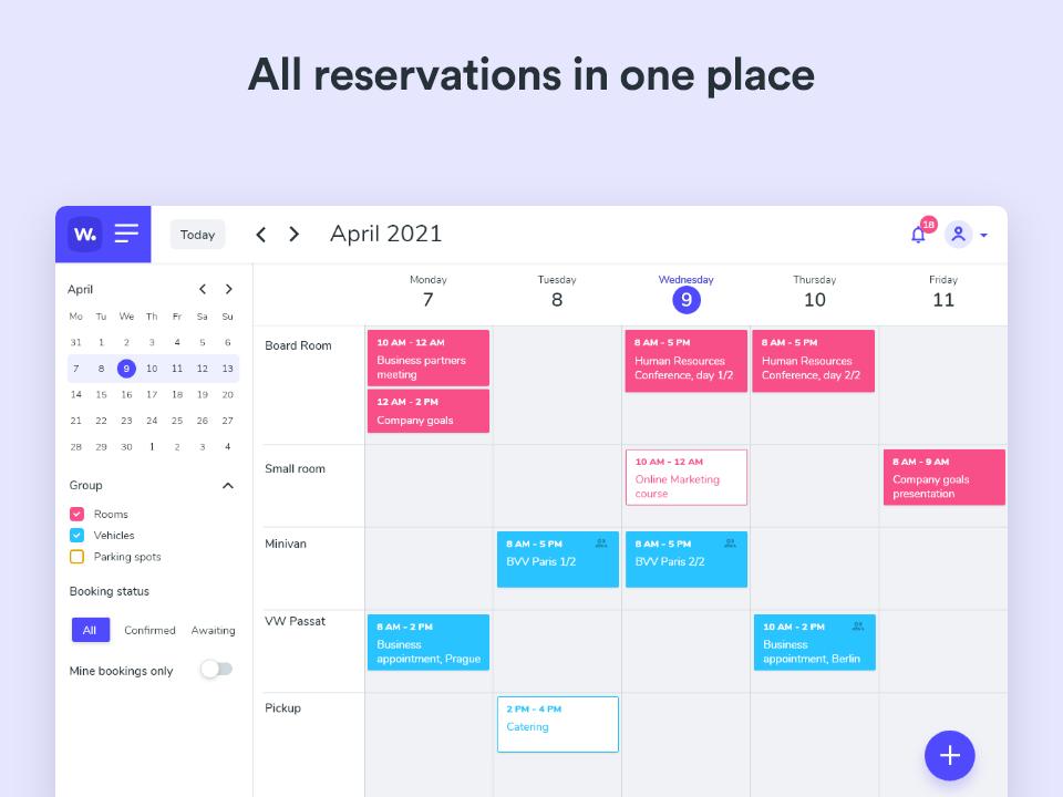 Whatspot screenshot: Whatspot bookings dashboard