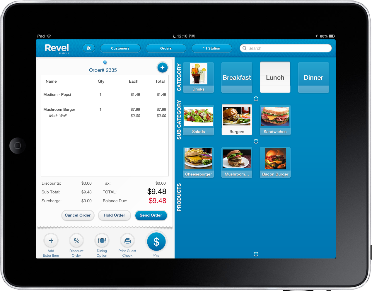 Revel POS on iPad in use in a restaurant